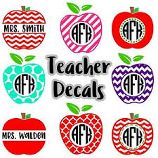 Teacher Apple Decal With Last Name Or Initials Monogram For Gift Tumbler Car Ebay