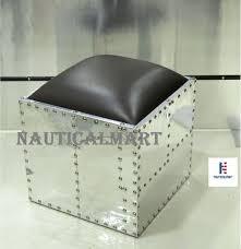 nauticalmart aluminum square ottoman