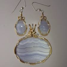 blue lace agate pendant and earring set