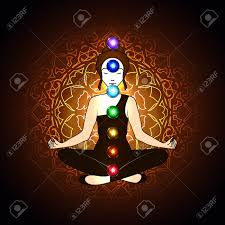 Vector Illustration Concept Aura And Chakra, Meditation. Royalty ...