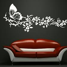 Modern White Elegant Butterfly Floral Decals Removable Vinyl Wall Art Nordicwallart Com