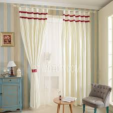 White Polyester Red Stripe Simple Modern Style Kids Room Curtain