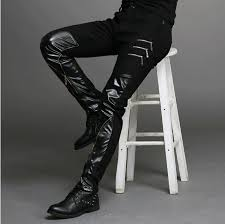 slim fit skinny pu faux leather jeans
