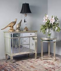 antique gold round mirrored side table