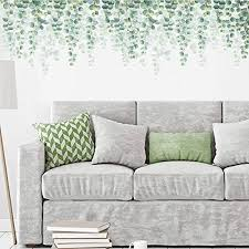 Decalmile Hanging Vine Wall Decals Eucalyptus Green Plants Wall Stickers Bedroom Living Room Sofa Tv