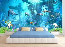 3d Underwater World Fish Dolphins Wallpaper 3d Wall Sticker Etsy