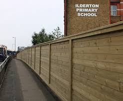 Acoustic Barrier Reduces Traffic Noise For School Jacksons Fencing Esi External Works