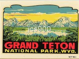 Vintage Grand Teton National Park Wyoming Souvenir State Travel Waterslide Decal Ebay