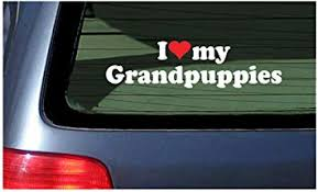 Amazon Com I Love My Grandpuppies White With Red Heart Window Decal Sticker Dogs Puppy Automotive