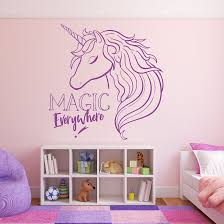 Magic Unicorn Vinyl Wall Sticker Girls Bedroom Wall Decal Magic Everywhere Quote Wallpaper Home Decoration Vinyl Wall Art Ay1764 Wall Stickers Aliexpress