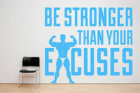 Be Stronger Than Your Excuses Gym Motivation Quote Window Wall Decal Sticker Ebay