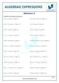 printable worksheets algebraic