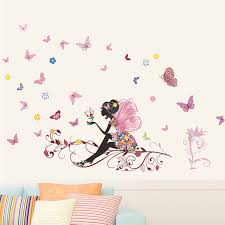 Butterfly Flower Fairy Wall Stickers For Kids Room Wall Decoration Bedroom Living Room Children Girls Room Decal Poster Mural Wall Stickers Aliexpress