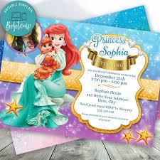 Editable Princesa Sirena Para Nina Con Foto Invitaciones Bricolaje