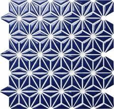 ceramic mosaic tile flower navy blue