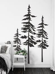 Pine Trees Wall Decal Forest Wall Art Pine Tree Decor Set Of 3 Pine Trees Sticker Nature Landscape Wall Decor Woodland Home Decor Sb45 Landscape Wall Decor Tree Wall Decal