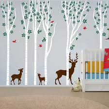 Poomoo Wall Decals New Birch Tree Wall Decal Aspen Forest Birds Deer Vinyl Sticker Nursery Art Decor H108in Art Decor Birch Tree Wall Decaltree Wall Decal Aliexpress