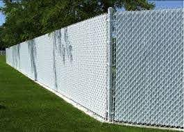 Tall White Vinyl Coated Chain Link Fence With White Privacy Slats Chain Link Fence Privacy Fence Panels Chain Link Fence Privacy
