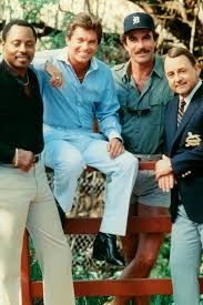 "The cast of ""Magnum, P.I."": (l-r) Roger E. Mosely, Larry Manetti ..."