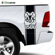 Truck Bed Vinyl Decal Fits Dodge Ram 1500 Racing Stripes Sticker Muscle Mascot Chicocanvas