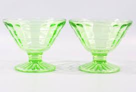 1930s green vaseline depression glass