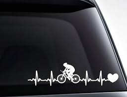 Cycling Heartbeat Bicycling Ekg Heartbeat Decal Vinyl Decal Etsy
