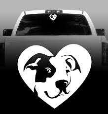 Pitbull Heart Vinyl Decal Bully Pitbull Terrier Car Vehicle S Rockin Da Dogs