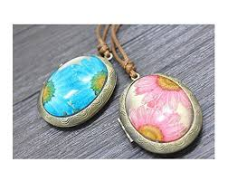 pressed real flower photo box necklace