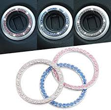 Amazon Com 1x Auto Start Decor Rhinestone Car Engine Start Stop Decoration Crystal Interior Ring Decal For Vehicle Ignition Button White Automotive
