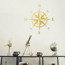 Compass Rose Nautical Wall Decal Ocean Theme Room Etsy