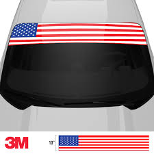 American Flag Windshield Banner Sun Strip Vinyl Sickness