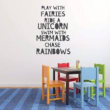 Fairies Unicorn Mermaids Rainbow Quote Wall Decor Vinyl Decal Lettering For Girl Toddler Or Tween Bedroom Pink Purple Black White Gray Turquoise Other Colors Small Large Sizes Creidiarrekord