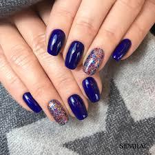 Navy Nails Glitter Accent Nail Niebieskie Paznokcie Wzory