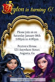 Descendants Evie And Mal Birthday Party Invitation Disney