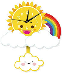 Amazon Com Yaoyao Wall Clock Kids Room Cute Cartoon Sun Silent Home Decor Love Study Decoration Modern Colorful Stylish Silent Non Ticking Meet All Your Decoration Need 32cm Home Kitchen