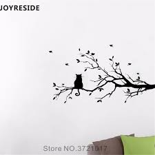 Joyreside Tree Branches Wall Decal Cat Birds Wall Sticker Sweet Vinyl Decor Home Children Bedroom Art Decor Interior Design A853 Wall Stickers Aliexpress