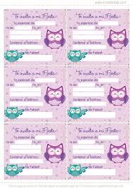 Lechuzas Violetas Mini Kit Gratis Invitaciones De Cumpleanos De