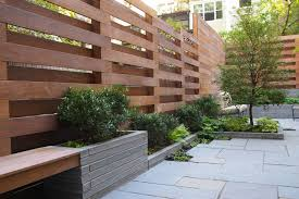 Creative Idea Stunning Home With High Brown Modern Wood Fence Near Small Brown Wood Bench Seat Also Grey Plaid Backyard Fences Modern Fence Design Fence Design