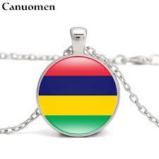 mauritius flag pendant necklace