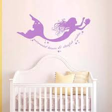 Battoo Mermaid Wall Decals Quote Mermaid Kisses Starfish Wishes Vinyl Decal Sticker Baby Girl Nursery Room Bedding Decor Wall Decals Quotes Baby Girl Nurserymermaid Wall Decals Aliexpress