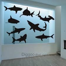 Amazon Com Shark Wall Decal Kids Room Decor Ocean Life Wall Sticker Beach Decor Ocean Themed Black Xs Home Kitchen