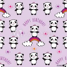 seamless pattern with cute pandas and