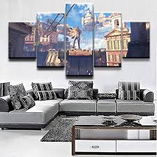 Amazon Com Wttlmal Wall Art Modular Picture Modern Home Decorative 5 Pieces Game Bioshock Infinite Building Poster Living Room Canvas Printed Draw Posters Prints
