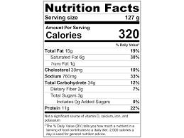 hot pockets nutrition label