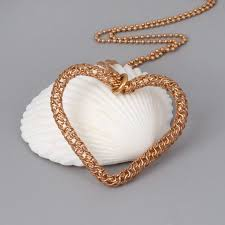 rose gold heart necklace large heart