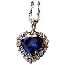 14k blue sapphire heart diamond pendant