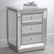 3 drawer silver mirrored accent table