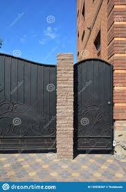 Close Up On Installation Of Entrance Metal Fence Door And Gate For Car Stock Image Image Of Modern Metal 139258367