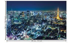 Amazon Com Great Art Poster Tokyo City Picture Decoration Skyline Night Modern Metropolis Tokio Tower Panorama Japan Cosmopolitan Nippon Image Photo Decor Wall Mural 55x39 4in 140x100cm Home Improvement