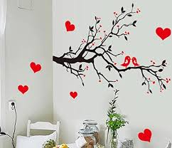 Amazon Com Bibitime Black Tree Branch Red Plum Wall Decal Kissing Lovers Birds Hearts Art Sticker For Nursery Bedroom Living Room Tv Background Vinyl Decor Home Kitchen